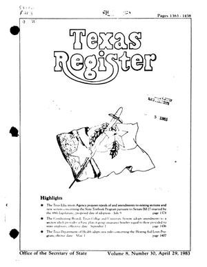 Primary view of object titled 'Texas Register, Volume 8, Number 30, Pages 1363-1438, April 29, 1983'.
