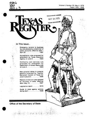 Primary view of object titled 'Texas Register, Volume 4, Number 33, Pages 1593-1648, May 4, 1979'.