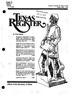 Primary view of object titled 'Texas Register, Volume 4, Number 34, Pages 1649-1702, May 8, 1979'.