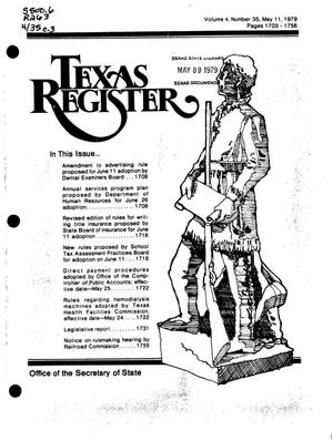 Primary view of object titled 'Texas Register, Volume 4, Number 35, Pages 1703-1756, May 11, 1979'.