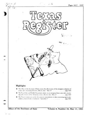 Primary view of object titled 'Texas Register, Volume 8, Number 34, Pages 1617-1642, May 17, 1983'.