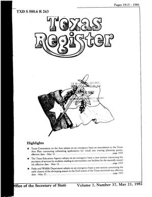 Primary view of object titled 'Texas Register, Volume 7, Number 37, Pages 1915-1966, May 21, 1982'.