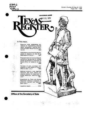 Primary view of object titled 'Texas Register, Volume 4, Number 38, Pages 1851-1896, May 22, 1979'.