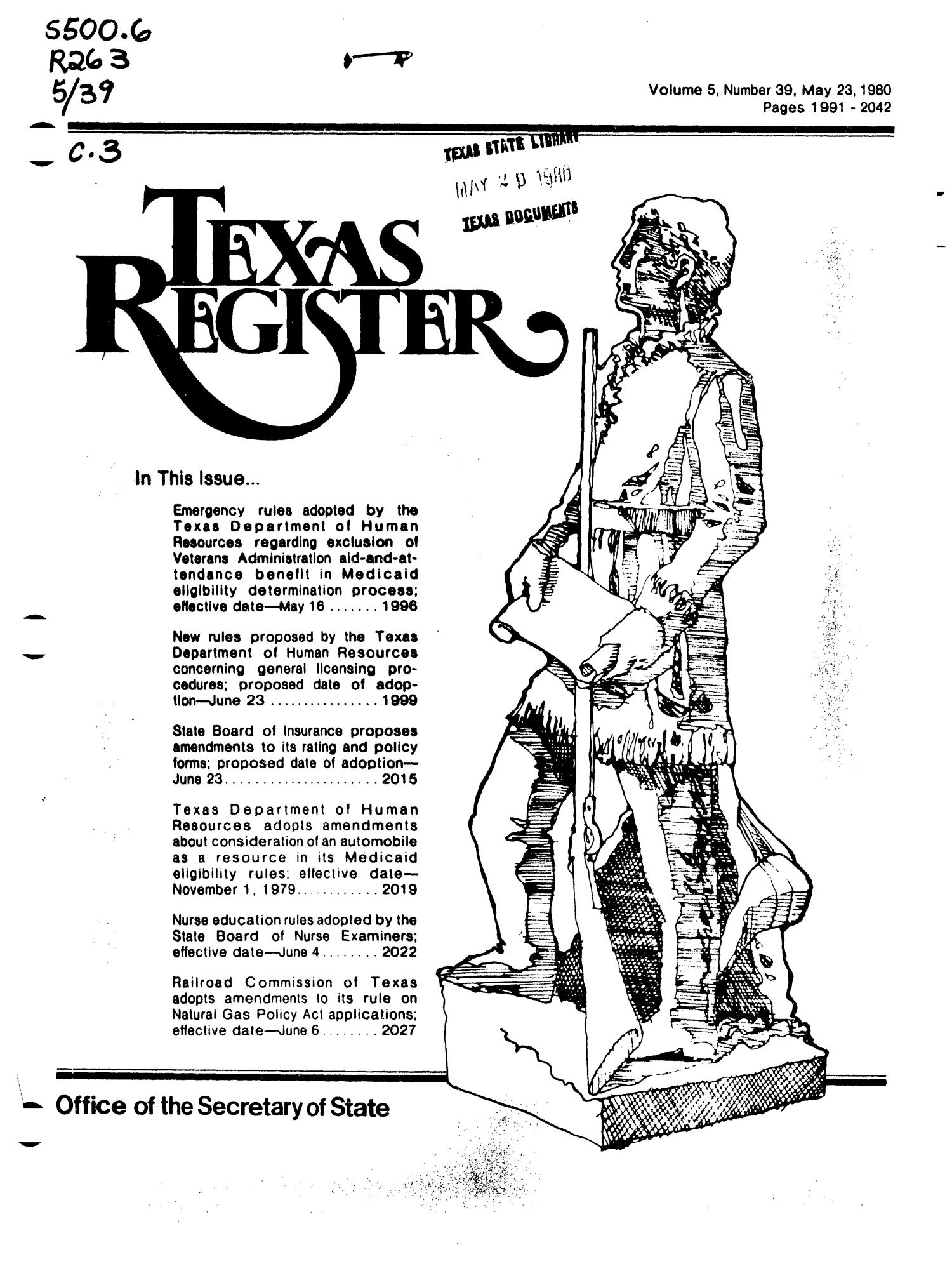 Texas Register, Volume 5, Number 39, Pages 1991-2042, May 23, 1980                                                                                                      Title Page