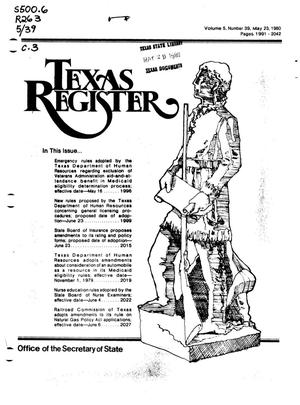 Primary view of object titled 'Texas Register, Volume 5, Number 39, Pages 1991-2042, May 23, 1980'.