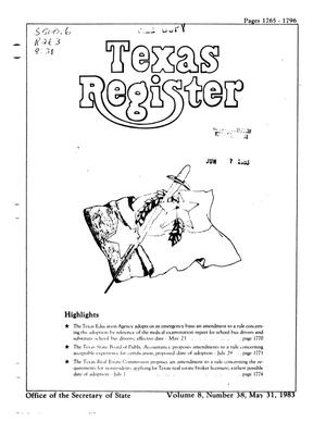 Primary view of object titled 'Texas Register, Volume 8, Number 38, Pages 1765-1796, May 31, 1983'.
