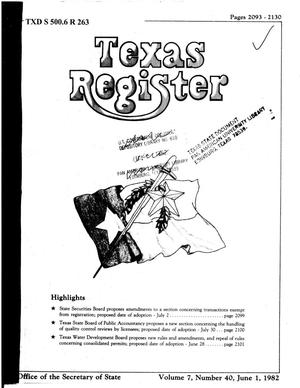 Primary view of object titled 'Texas Register, Volume 7, Number 40, Pages 2093-2130, June 1, 1982'.