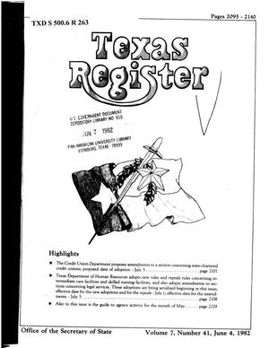 Primary view of object titled 'Texas Register, Volume 7, Number 41, Pages 2095-2140, June 4, 1982'.