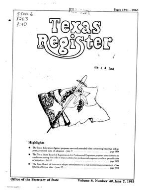Primary view of object titled 'Texas Register, Volume 8, Number 40, Pages 1891-1960, June 7, 1983'.