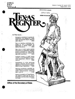 Primary view of object titled 'Texas Register, Volume 4, Number 42, Pages 2049-2116, June 8, 1979'.