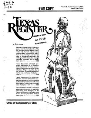 Primary view of object titled 'Texas Register, Volume 6, Number 43, Pages 2047-2078, June 9, 1981'.
