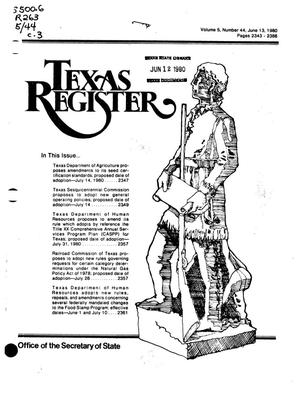 Primary view of object titled 'Texas Register, Volume 5, Number 44, Pages 2343-2386, June 13, 1980'.
