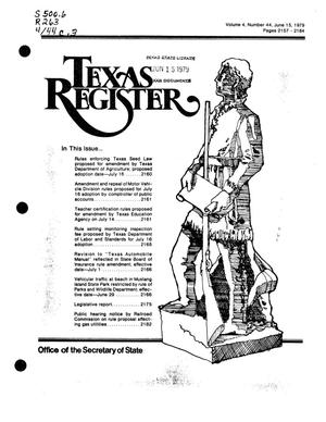 Primary view of object titled 'Texas Register, Volume 4, Number 44, Pages 2157-2184, June 15, 1979'.