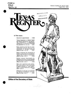 Primary view of object titled 'Texas Register, Volume 4, Number 45, Pages 2185-2208, June 19, 1979'.