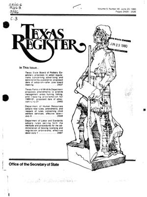 Primary view of object titled 'Texas Register, Volume 5, Number 46, Pages 2429-2526, June 20, 1980'.