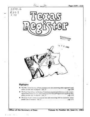 Primary view of object titled 'Texas Register, Volume 8, Number 44, Pages 2105-2132, June 21, 1983'.
