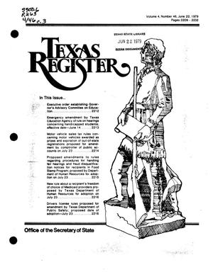 Primary view of object titled 'Texas Register, Volume 4, Number 46, Pages 2209-2232, June 22, 1979'.