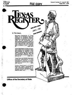Primary view of object titled 'Texas Register, Volume 6, Number 47, Pages 2201-2238, June 23, 1981'.