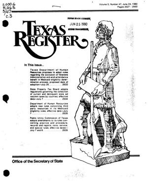 Primary view of object titled 'Texas Register, Volume 5, Number 47, Pages 2527-2550, June 24, 1980'.