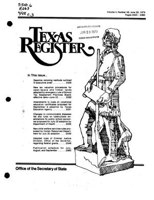 Primary view of object titled 'Texas Register, Volume 4, Number 48, Pages 2323-2360, June 29, 1979'.