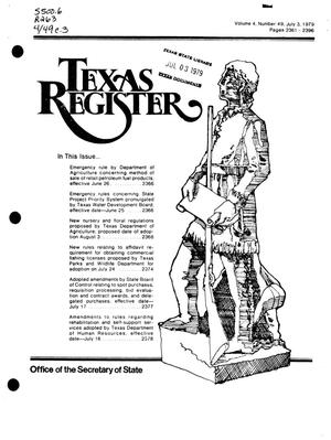 Primary view of object titled 'Texas Register, Volume 4, Number 49, Pages 2361-2396, July 3, 1979'.