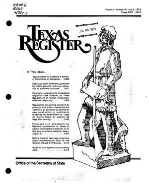 Primary view of object titled 'Texas Register, Volume 4, Number 50, Pages 2397-2424, July 6, 1979'.