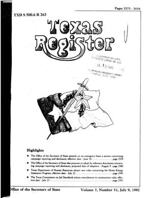 Primary view of object titled 'Texas Register, Volume 7, Number 51, Pages 2575-2616, July 9, 1982'.