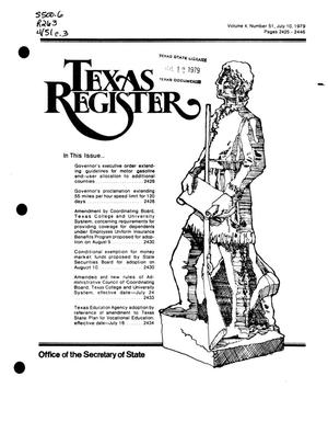 Primary view of object titled 'Texas Register, Volume 4, Number 51, Pages 2425-2446, July 10, 1979'.