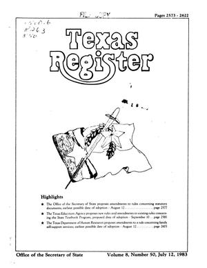 Primary view of object titled 'Texas Register, Volume 8, Number 50, Pages 2573-2622, July 12, 1983'.