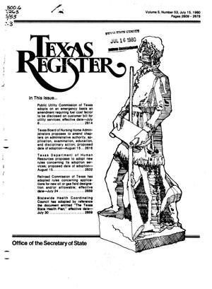 Primary view of object titled 'Texas Register, Volume 5, Number 53, Pages 2809-2878, July 15, 1980'.