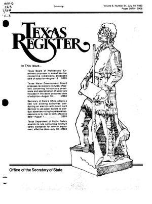 Primary view of object titled 'Texas Register, Volume 5, Number 54, Pages 2879-2908, July 18, 1980'.