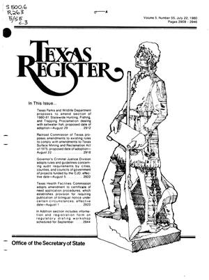 Primary view of object titled 'Texas Register, Volume 5, Number 55, Pages 2909-2946, July 22, 1980'.
