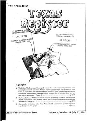 Primary view of object titled 'Texas Register, Volume 7, Number 55, Pages 2721-2771, July 23, 1982'.