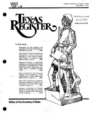 Primary view of object titled 'Texas Register, Volume 4, Number 57, Pages 2635-2718, August 3, 1979'.