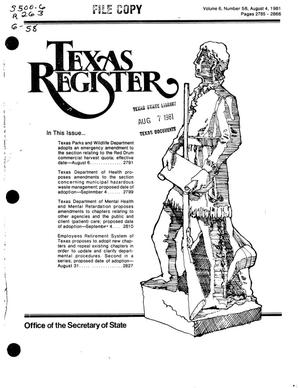 Primary view of object titled 'Texas Register, Volume 6, Number 58, Pages 2785-2866, August 4, 1981'.