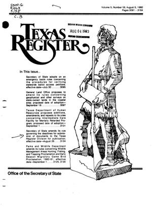 Primary view of object titled 'Texas Register, Volume 5, Number 58, Pages 3091-3164, August 5, 1980'.