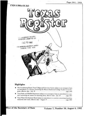 Primary view of object titled 'Texas Register, Volume 7, Number 58, Pages 2851-2908, August 6, 1982'.
