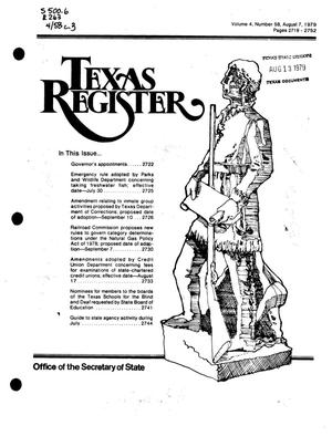 Primary view of object titled 'Texas Register, Volume 4, Number 58, Pages 2719-2752, August 7, 1979'.