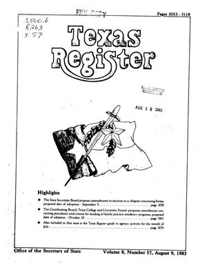 Primary view of object titled 'Texas Register, Volume 8, Number 57, Pages 3053-3118, August 9, 1983'.