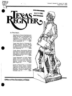Primary view of object titled 'Texas Register, Volume 5, Number 61, Pages 3303-3358, August 15, 1980'.