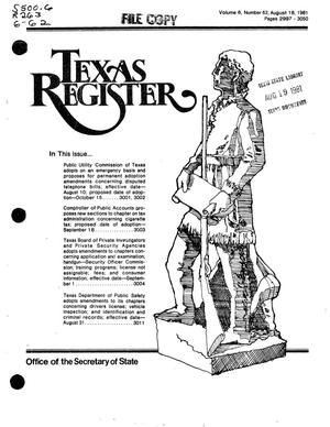 Primary view of object titled 'Texas Register, Volume 6, Number 62, Pages 2997-3050, August 18, 1981'.