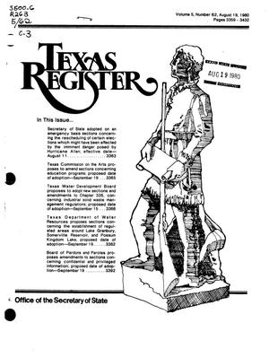 Primary view of object titled 'Texas Register, Volume 5, Number 62, Pages 3359-3432, August 19, 1980'.
