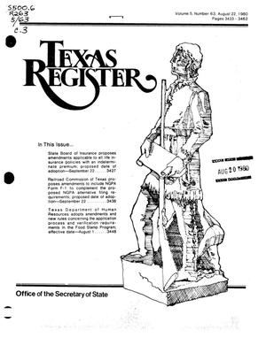 Primary view of object titled 'Texas Register, Volume 5, Number 63, Pages 3433-3462, August 22, 1980'.