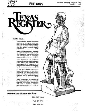 Primary view of object titled 'Texas Register, Volume 6, Number 64, Pages 3117-3146, August 25, 1981'.