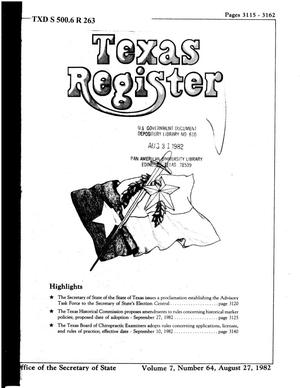 Primary view of object titled 'Texas Register, Volume 7, Number 64, Pages 3115-3162, August 27, 1982'.