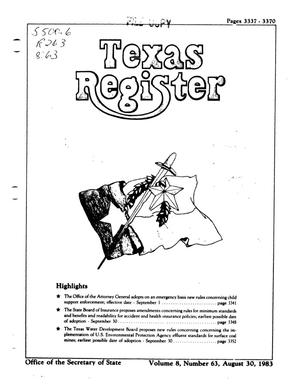 Primary view of object titled 'Texas Register, Volume 8, Number 63, Pages 3337-3370, August 30, 1983'.