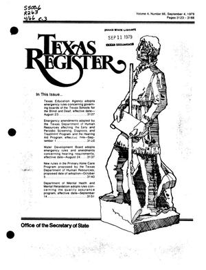Primary view of object titled 'Texas Register, Volume 4, Number 66, Pages 3123-3168, September 4, 1979'.