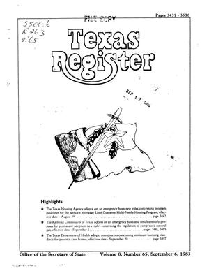 Primary view of object titled 'Texas Register, Volume 8, Number 65, Pages 3437-3536, September 6, 1983'.