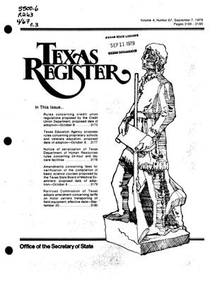 Primary view of object titled 'Texas Register, Volume 4, Number 67, Pages 3169-3185, September 7, 1979'.