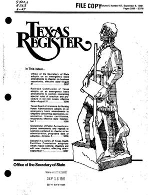 Primary view of object titled 'Texas Register, Volume 6, Number 67, Pages 3289-3376, September 8, 1981'.